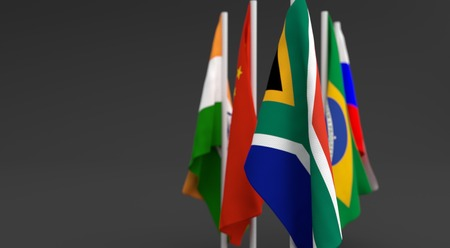 illustration 3d render, Flags of the five countries of the Brics, with the leadership of south africa