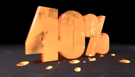 forty: 3d illustration of forty percent discount sign made with incandescent metal Stock Photo