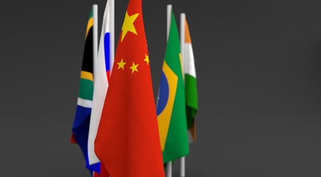illustration 3d render, Flags of the five countries of the Brics, with the leadership of china Фото со стока