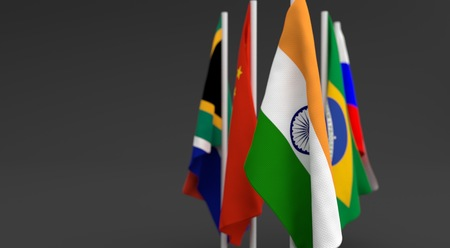 founding: illustration 3d render, Flags of the five countries of the Brics, with the leadership of India
