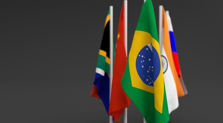 founding: illustration 3d render, Flags of the five countries of the Brics, with the leadership of Brazil Stock Photo