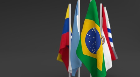 illustration 3d render, Flags of the five countries of the Mercosul economic bloc, with the leadership of Brazil Фото со стока