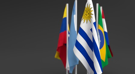 illustration 3d render, Flags of the five countries of the Mercosul economic bloc, with the leadership of uruguay