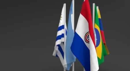 illustration 3d render, Flags of the five countries of the Mercosul economic bloc, with the leadership of paraguay