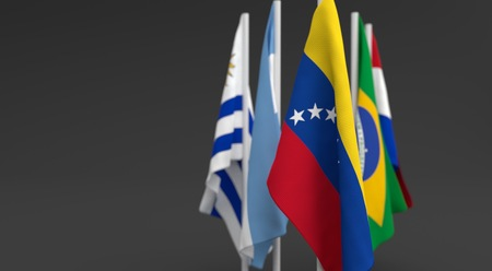 illustration 3d render, Flags of the five countries of the Mercosul economic bloc, with the leadership of venezuela Фото со стока