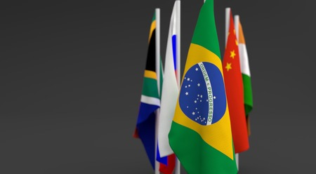 illustration 3d render, Flags of the five countries of the Brics, with the leadership of Brasil Фото со стока