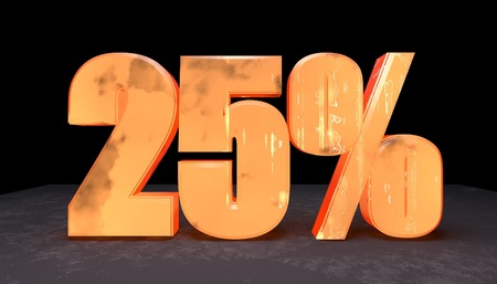 twenty five: 3d illustration of twenty five percent discount sign made with incandescent metal Stock Photo