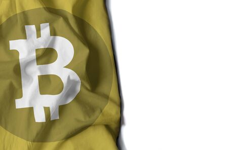 flag of bitcoin icon, wrinkled flag with space for text Фото со стока