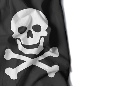 flag of skull, pirate flag wrinkled flag with space for text Фото со стока