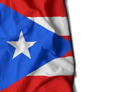 bandera de puerto rico: flag of puerto rico, wrinkled flag with space for text