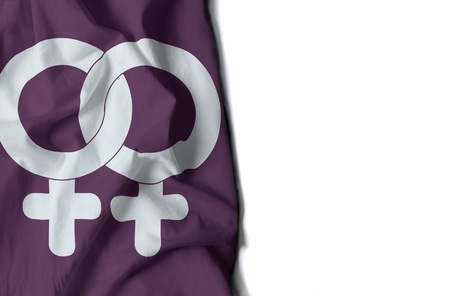 diversity of the region: flag of woman gay symbol, wrinkled flag with space for text
