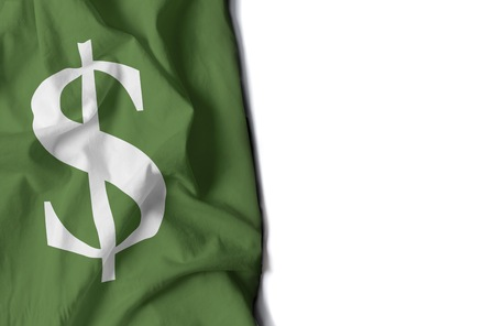 dolar: bandera de dolar, dinero bandera arrugada con el espacio para el texto Foto de archivo