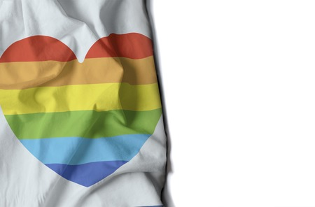 diversity of the region: flag of a gay heart, wrinkled flag with space for text