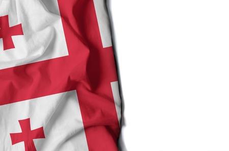 georgian: flag of georgia, georgian wrinkled flag with space for text Stock Photo