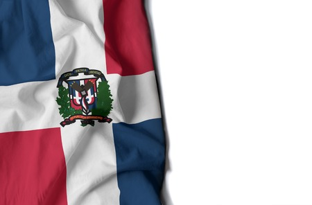 caribe: flag of dominican republic, wrinkled flag with space for text Stock Photo