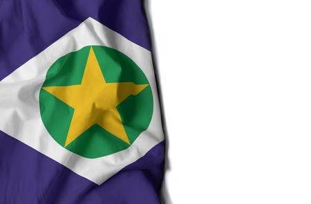 flag of mato grosso, brazilian state wrinkled flag with space for text Фото со стока