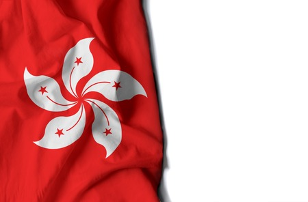 flag of hong kong, chinese hong kong wrinkled flag with space for text Фото со стока