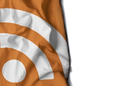 flag of rss icon, wrinkled flag with space for text