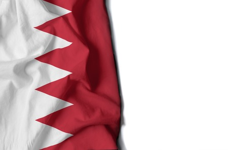 flag of bahrain, wrinkled flag with space for text