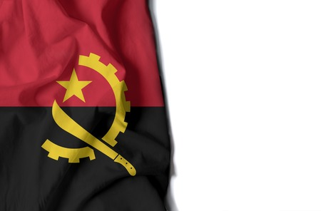 flag of angola, angolan wrinkled flag with space for text Фото со стока