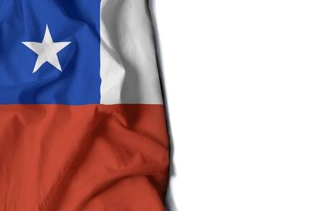 flag of chile, chilean wrinkled flag with space for text