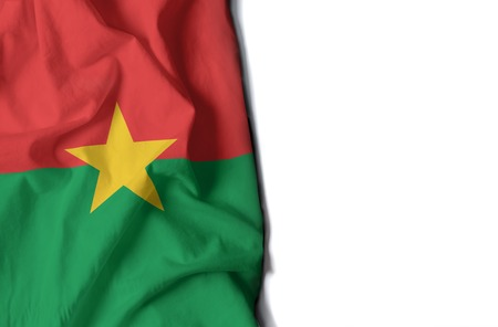 flag of burkina faso, wrinkled flag with space for text
