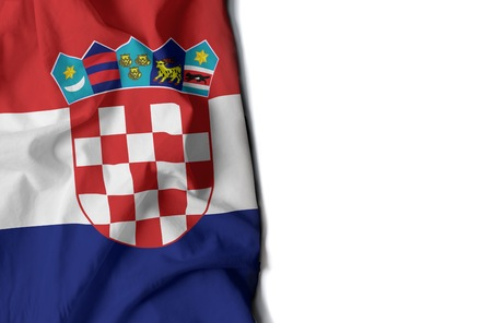 flag of croata, Croatian wrinkled flag with space for text Фото со стока
