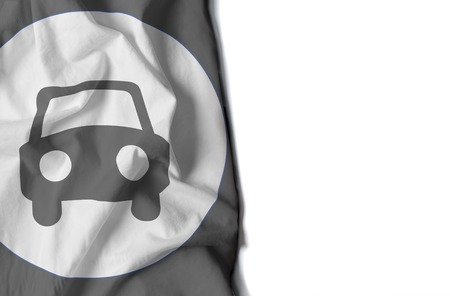 flag of a icon car, wrinkled flag with space for text