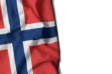 flag of norway, Norwegian wrinkled flag with space for text