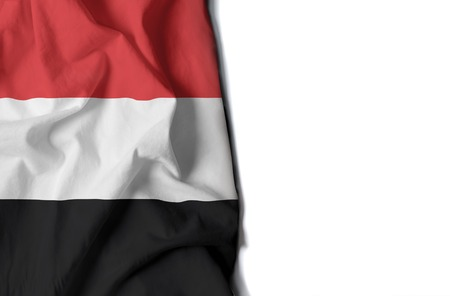 flag of yemen, wrinkled flag with space for text Фото со стока