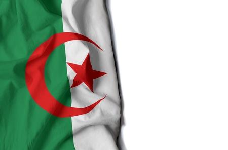 algerian: flag of Algeria, Algerian wrinkled flag with space for text Stock Photo