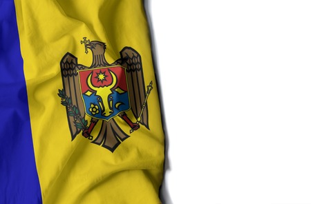 flag of moldova, moldovan wrinkled flag with space for text Фото со стока