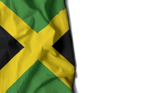 flag of jamaica, jamaican wrinkled flag with space for text Фото со стока