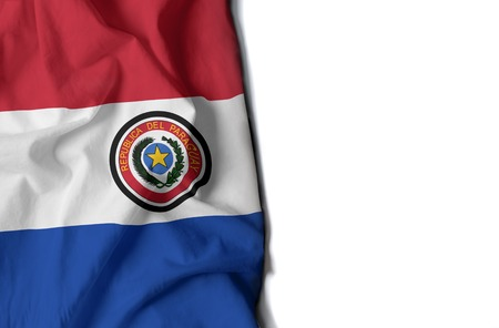 flag of paraguay, paraguayan wrinkled flag with space for text