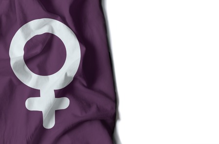 flag of woman icon wrinkled flag with space for text