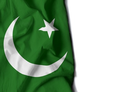 pakistani pakistan: flag of pakistan, Pakistani wrinkled flag with space for text