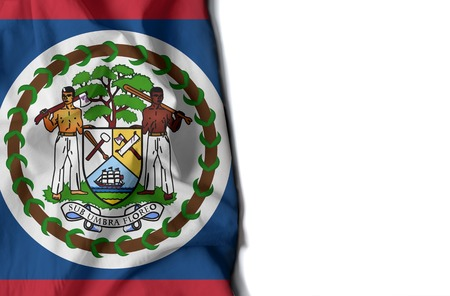 flag of belize, belizean wrinkled flag with space for text