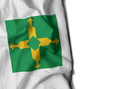 flag of brasilia, capital of brazil wrinkled flag with space for text