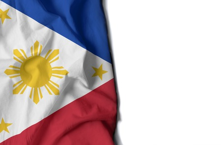 flag of philippines, wrinkled flag with space for text