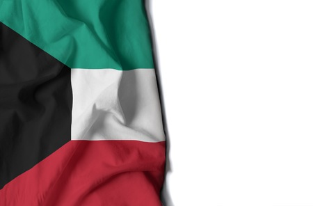 flag of kuwait, kuwaiti wrinkled flag with space for text