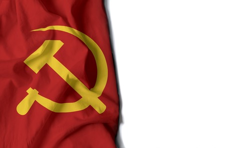 flag of sickle and hammer, communist wrinkled flag with space for text Фото со стока