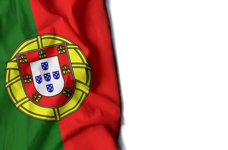 flag of portugal, portuguese wrinkled flag with space for text