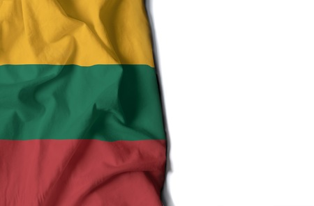 flag of lithuania, lithuanian wrinkled flag with space for text