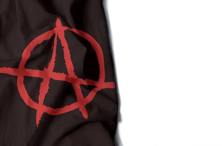 black flag of anarchy, anarchist wrinkled flag with space for text Фото со стока