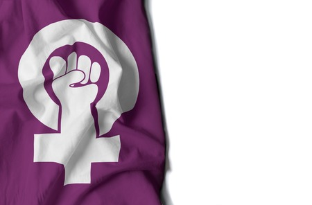 flag of feminism, wrinkled flag with space for text