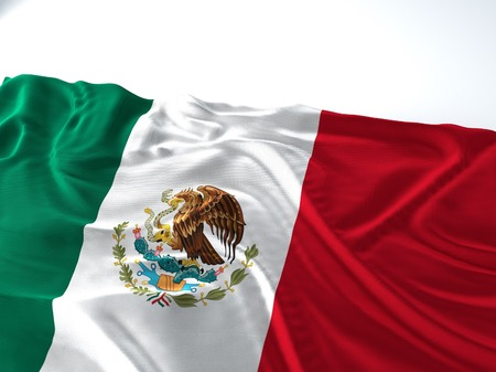 3d render iustration of a Waving mexico Flag on white background Фото со стока