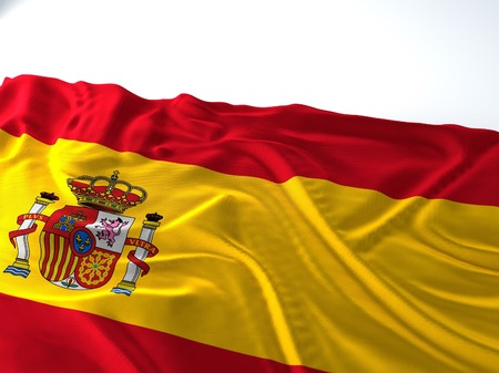 3d render iustration of a Waving spain Flag Фото со стока