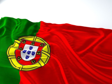 3d render iustration of a Waving portugual Flag on white background