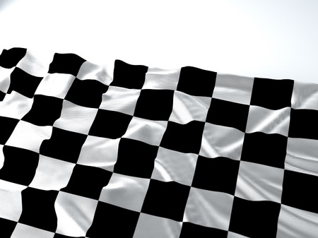 3d render iustration of a Waving race Flag on white background