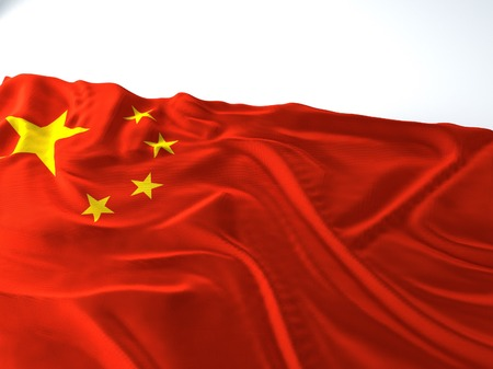 3d render iustration of a Waving china Flag on white background